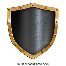 Gold and black metal shield isolated 3d illustration