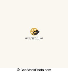 Gold and black Oak City Film Logo Design