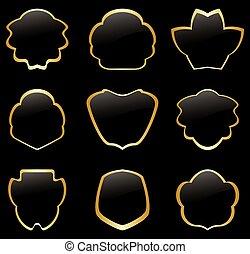 gold and black vintage frames - set