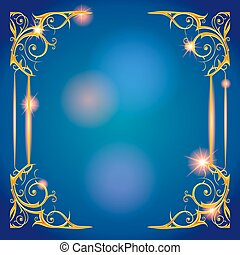 Gold and blue holiday frame
