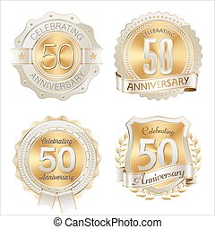 Anniversary Badges 50th - Gold and Brown Anniversary Badges ...