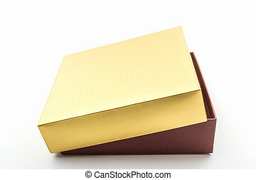 Gold and brown box. - Gold and brown box on white...