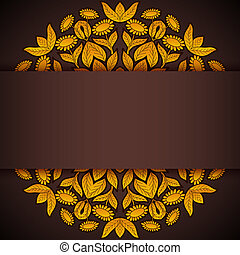 Gold and brown round sunflowers invitation