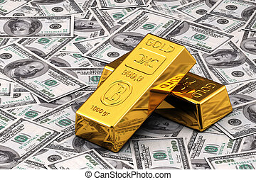 Gold and Cash - Two gold bullions on hundred Dollar bills