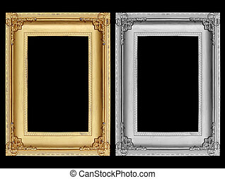 Gold and Gray picture frame on black background.