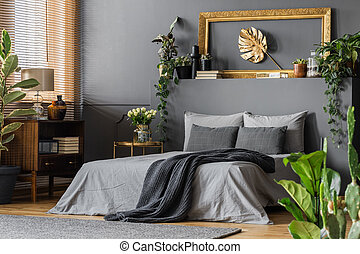 Gold and grey elegant bedroom