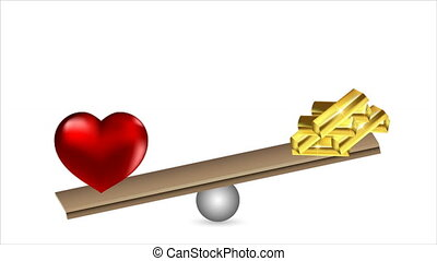 Gold and love on the scales, art video illustration.