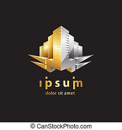 Gold and metal 3D building icon. Skyscraper construction logo template for the business card, branding and corporate identity.