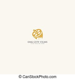 Gold and Oak City Film Logo Design fruit