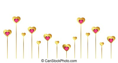 gold and pink heart border on white background