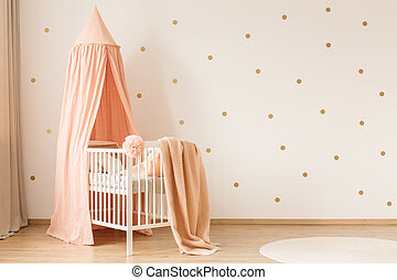 Gold and pink kid's bedroom