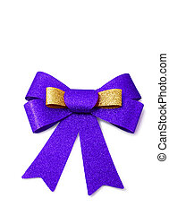 Gold and purple ribbon isolated on white, clipping path.