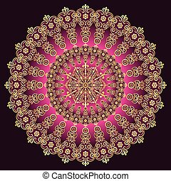 Gold and purple vintage round patternPrint