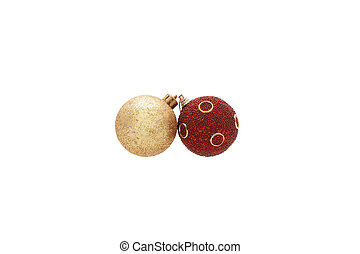 Gold and red Christmas balls.