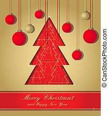 gold and red christmas postcard
