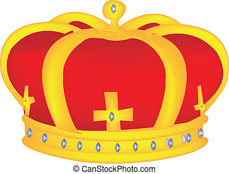 Gold and Red Crown Vector