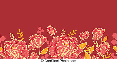 Gold and red flowers horizontal seamless pattern border