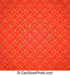 Gold and red geometric national chinese seamless pattern....