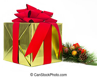 Gold and Red Holiday Gift with Pine Bough