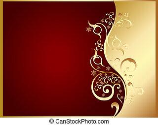 half golden half red invitation or card with golden swirls