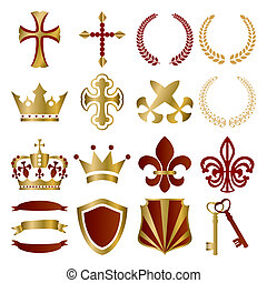 Gold and red ornaments set. Illustration vector.
