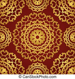 Gold and red pattern.