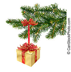 Gold and red present box hanging on green Christmas tree ...