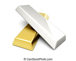 Gold and Silver - 3D rendered Illustration. Isolated on...