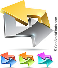 Gold and silver arrow cycle 3D icon