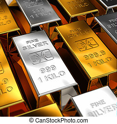 Gold and Silver Bars placed next to each other with shallow...
