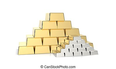 Gold and Silver bars pyramid 3D rendering