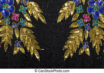 Gold And Silver Black Fabric Jewelry Background