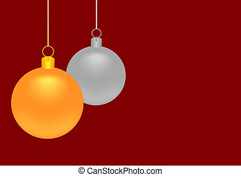 Gold and silver Christmas balls on a dark red background