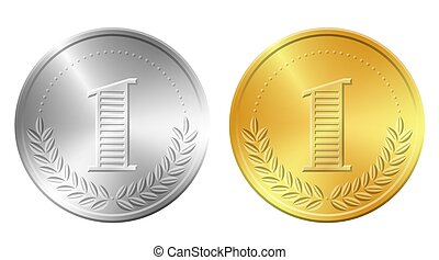 Gold and silver coins vector illustration