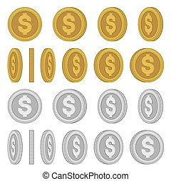 Gold and Silver Coins with Different Rotation Angles Set. Vector