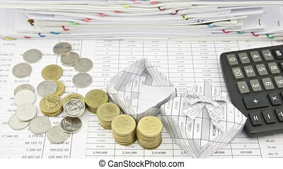Gold and silver coins with gift box - Pile of gold and...