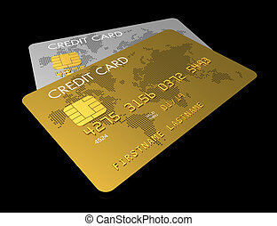 Gold and silver credit card isolated on black with clipping...