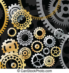 Gold and silver gears on a black background