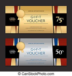 Gold and silver gift voucher or gift certificate card for...