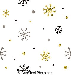 Gold and silver glitter snowflakes background.