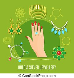 Gold And Silver Jewelry Composition