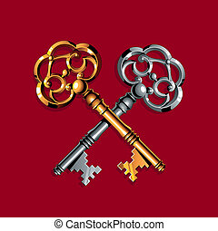 Gold and silver keys - Gold and silver vintage keys on the...