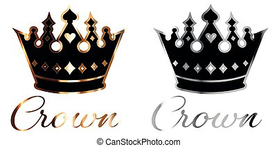 Gold and silver luxurious crown with ribbon logo vector - ...