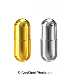 Gold and silver metal capsules isolated on white