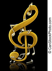 Gold and silver musical notes - 3d render