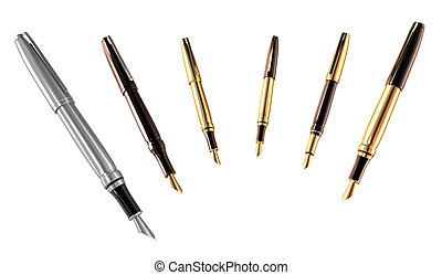 Gold and silver pens set