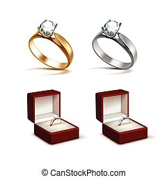 Gold and Silver Rings with Diamond in Jewelry box