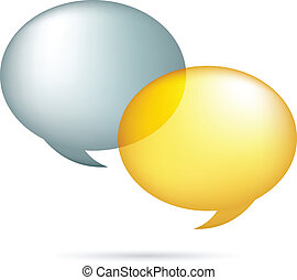 Gold and silver speech bubbles  - vector illustration
