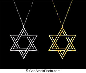 Gold and silver Star of David necklaces. EPS10 vector format