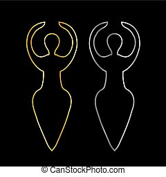 Gold and silver Symbol of the Wiccan goddess